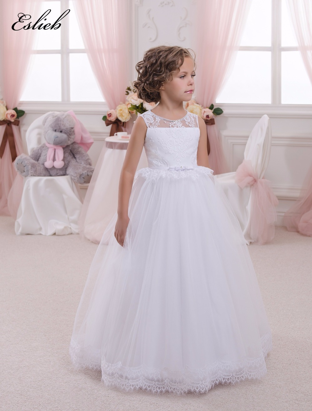 Appliques Sleeveless Holy Communion Infant Lace Up Kids Floor Length Puffy Tulle Ball Gown 0-12 Y Open Back   Flower     Girls     Dresses