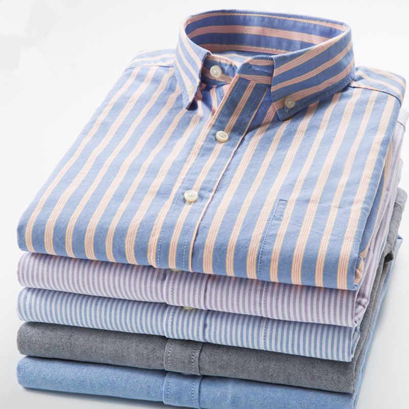 綿 100% オックスフォードメンズシャツ高品質ストライプビジネスカジュアルソフトメンズドレスソーシャルシャツレギュラーフィット男性シャツビッグサイズ 8XL