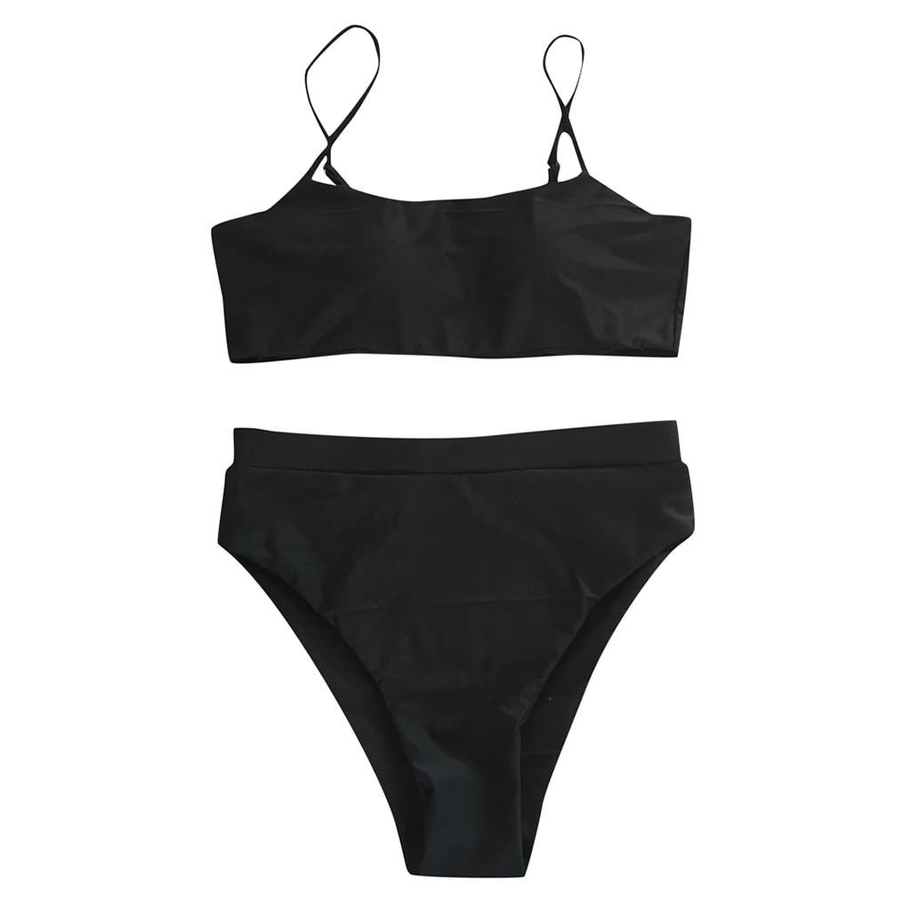 Сексуальный комплект бикини, женский купальник,, пуш-ап, с подкладкой, бандо, Бразильская пляжная одежда, бикини, купальник для женщин, пляжная одежда, купальный костюм - Цвет: Черный