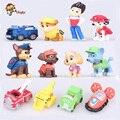 12 pçs/set Canino Cão Anime Figuras de Ação Boneca Filhote de cachorro de Brinquedo Do Carro Patrulha Patrulha Canina Patrulla paisagem Juguetes Presente para Criança