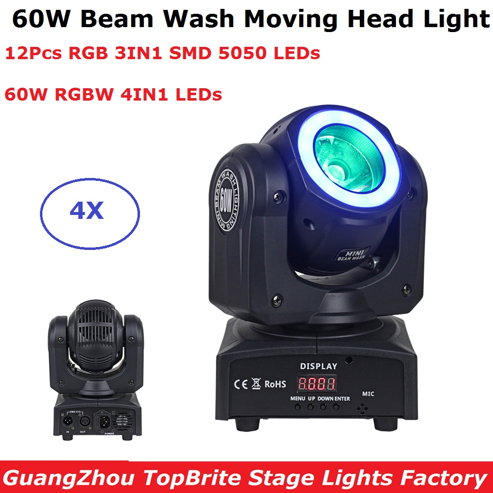 4XLot Portable Mini 60W RGBW 4IN1 LED Moving Head Beam Party Lights DMX512 LED DJ XMAS Disco Lights With SMD 5050 LED Strip