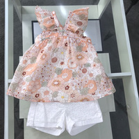 2019 New Summer Flower Printed Dress Baby Girls Blouse Top+ Hollow White Pants Toddler Girls Clothing Set for Girl