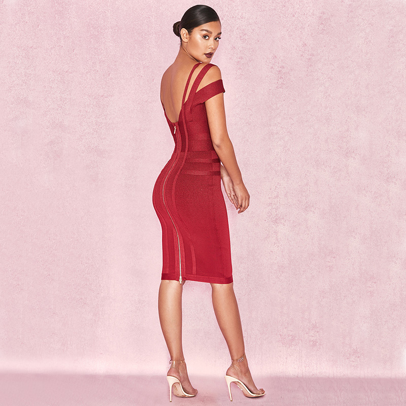 Female Off Shoulder Backless Midi Dresses Sexy Fashion V Neck Party Wear Red Wine Knee Length Dress Christmas Vestidos Hot - 3