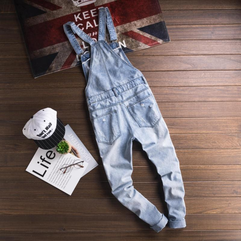 Mcikkny Fashion Men\`s Ripped Hip Hop Denim Bib Overalls Slim Fit Casual Streetwear Jumpsuits For Male Suspender Pants Washed (13)