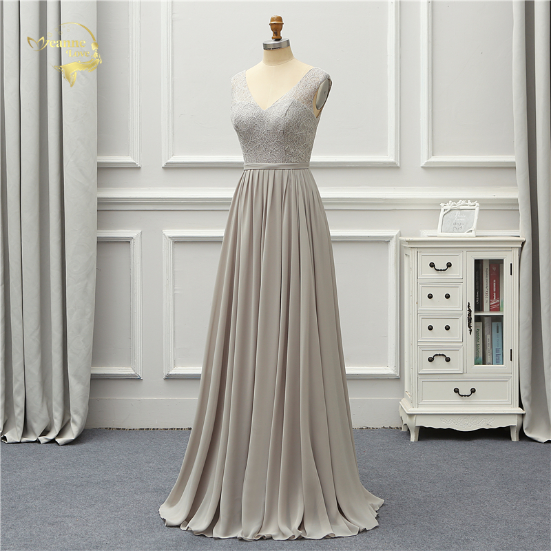 Elegant Gray Lace V Neck Chiffon Long Bridesmaid Dress