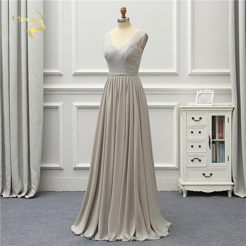 Elegant Gray Lace V Neck Chiffon Long Bridesmaid Dress