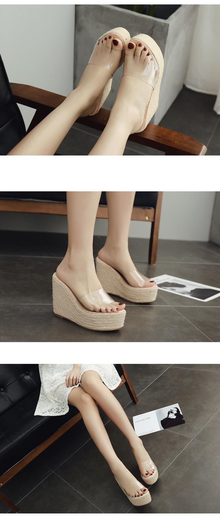HTB1ZTY1dL6TBKNjSZJiq6zKVFXar Eilyken 2019 New Summer PVC Jelly Sandals slippers Shoes Casual Sexy Wedges 11.5CM Women's Sandals slippers size 34-40