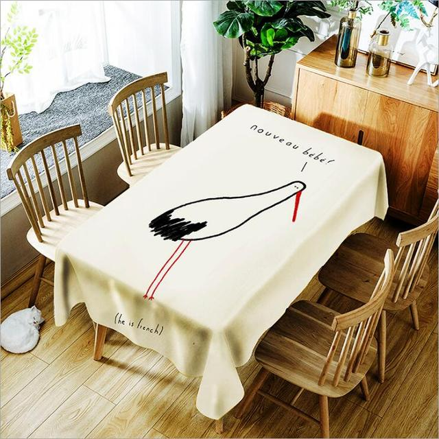 Waterproof Oilproof Table Cloth Polyester Tablecloth Dining Kitchen Cover Protector Oil Cartoon Animal