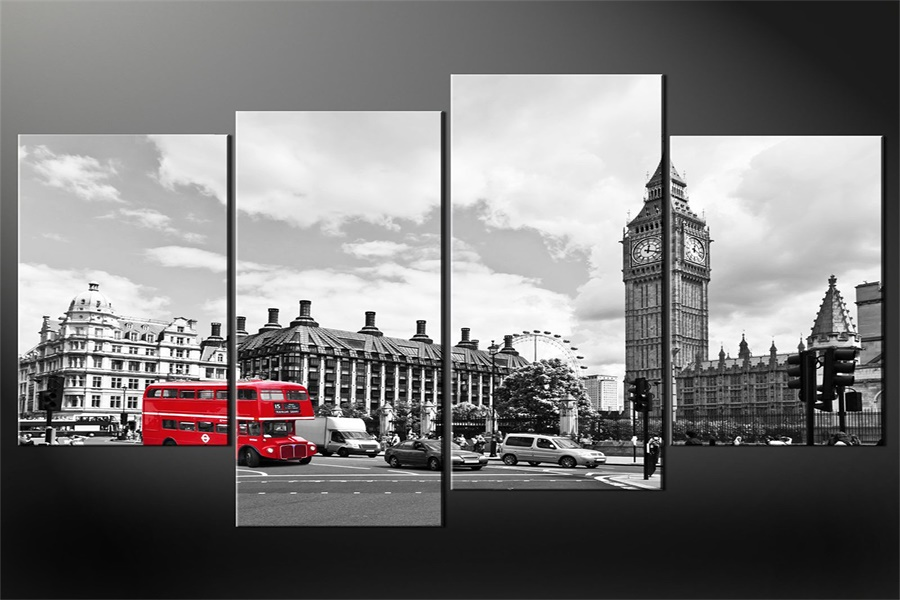 Custom Red Bus Wallpaper London Old View Wall Stickers Big Ben Poster Red Bus Sticker Mu ...