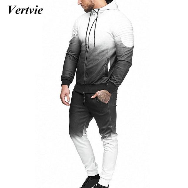 2ad3cb20fc5 VERTVIE Autumn Men Fashion 3D Print Set Sweatshirt +Pants Suits Gradient  Casual Jacket Trousers Tracksuit