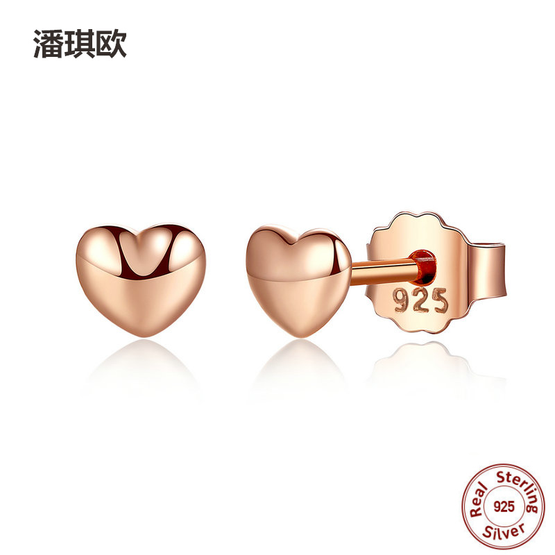 Real 100% 925 Sterling Silver & Rose Gold Hearts Mini Stud Earrings For Women Female Compatible with pan jewelery