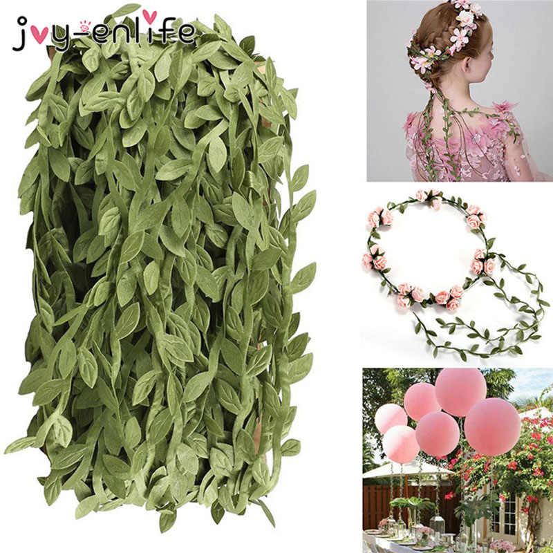 10 м шелковая ткань в форме листьев искусственные растения зеленые листья плюща кружевные ленты для свадебного украшения DIY ВЕНОК искусственный цветок настенный Декор
