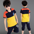 2016 Children's clothing child summer male set summer short-sleeve 2015 capris twinset boy child