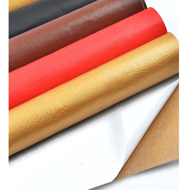 50x68 centímetros Auto-adesivo Remendo Tecido Lichia PU couro Falso Tecido De Couro Sintético para o Sofá Remendo Remodelado manchas adesivas