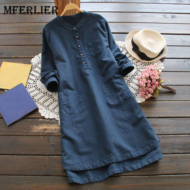 Mferlier Mori Girl Autumn Solid Shirt Dress Stand Collar Long Sleeve Loose Casual White Pink Blue Artsy Womens Dress