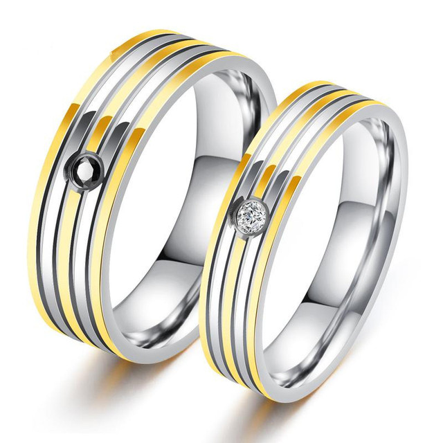 Stripe Gold Color Wedding rings For Lovers Inlaid Cubic Zirconia Two