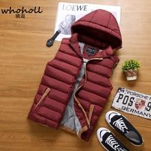 Fashion Men's Vest Winter Men Brand Hooded Vest Male Fashion Cotton-Padded Waistcoat Jacket and Coat Warm Vest 3XL 4XL