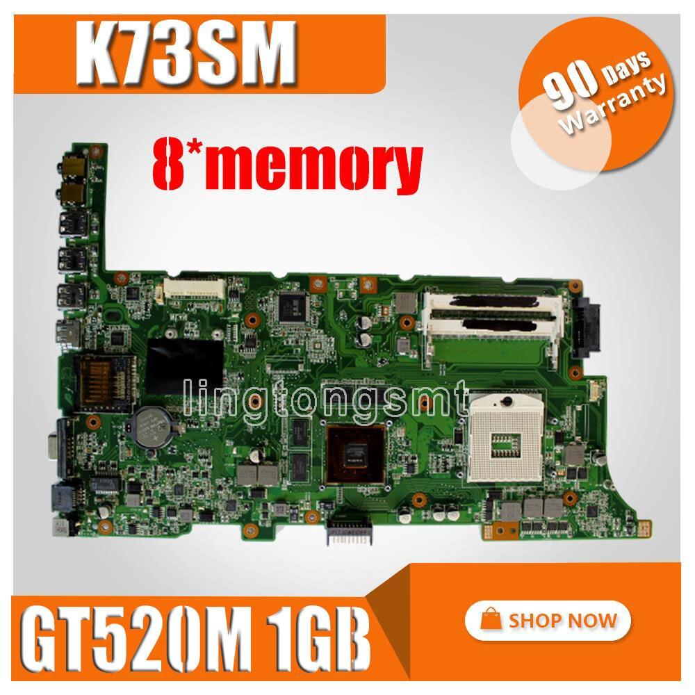 K73SM Motherboard 8 memory GT520M 1GB Rev 2 3 For ASUS K73SV K73SD Laptop motherboard K73SM