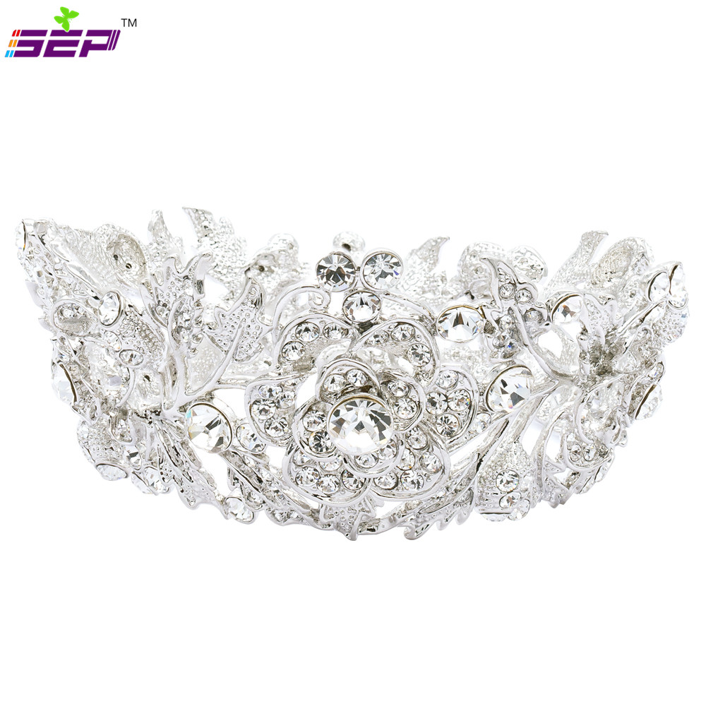 Round Flower Tiaras Mini Crown for Little Girl Wedding Austrian ...