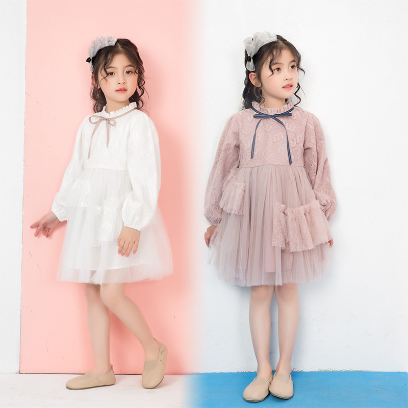 Été bébé fille robe 2019 nouveaux enfants doux mode filles élégantes robe de princesse enfants vêtements Style européen fête de mariage - 3