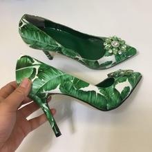High quality rhinestone pointed toe high heeled pumps Fashion green leaf print heels womens party shoes EU35-41 BY683