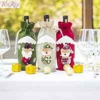 Cubierta de la botella de vino de Santa Claus 2019 adornos de Navidad Feliz Año Nuevo 2020