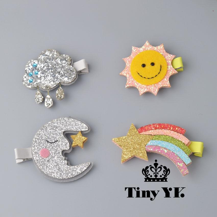 1 PCS New Design Cute Moon Hair Clips Sparkly Sun Glitter Rainbow Felt Animal Hairpin Girls Children Hair Accessories