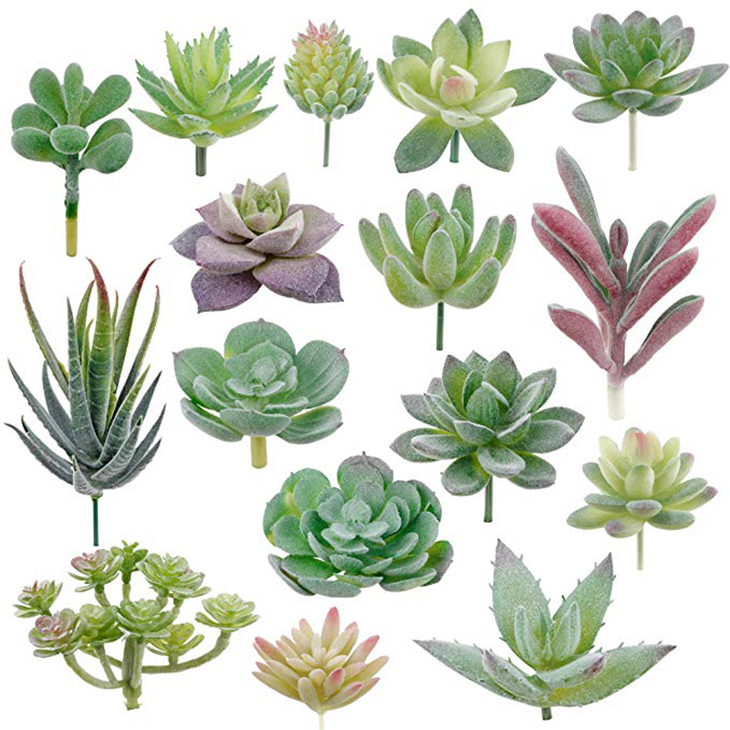 16pcs Artificial Succulent Flocking Plants Mini Fake Succulents Plant For Lotus Landscape Decorative Garden Arrangement Decor