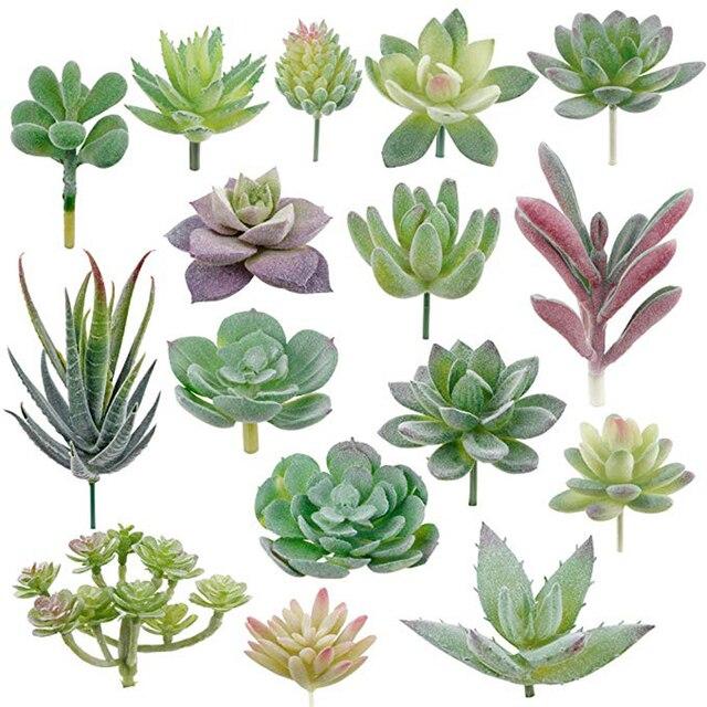 APRGARDEN 16pcs Artificial Succulent Mini Fake Flocking Plants for Lotus Landscape Decorative Garden Arrangement Home Desk