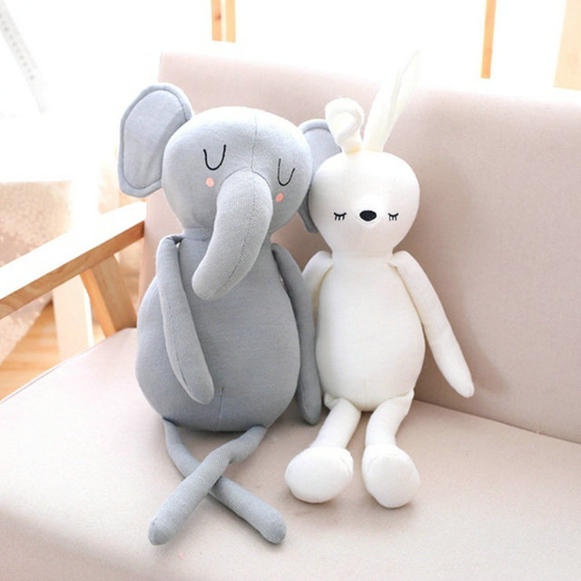 60cm Super Cute Plush Sleeping Long Nose Grey Elephant Stuffed White