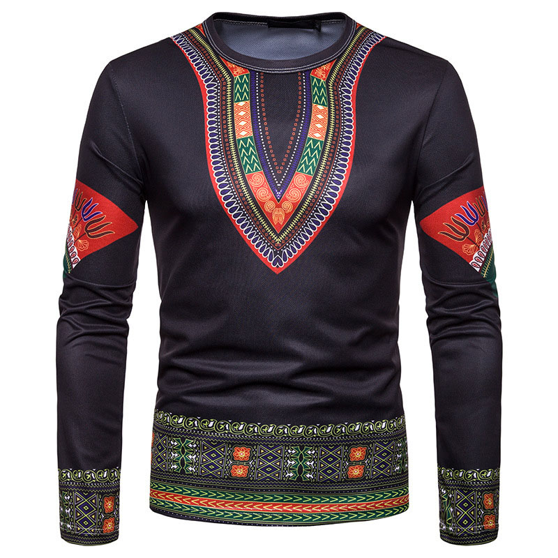 Adult Men Autumn African Dashiki Back Print Shirt Full Sleeves Round O Neck Pullover Top Blouse Black Tribal Shirt For Men 2XL