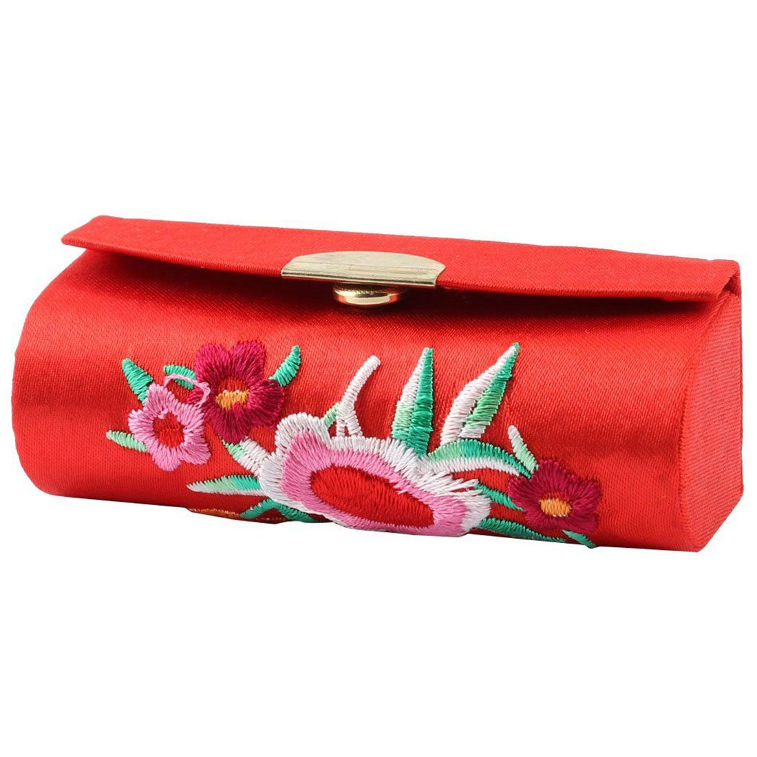 Button Floral Chinese Embroidery Lipstick Case + Mirror, Metal red фен elchim 8th sense red lipstick 03082 07