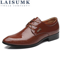 2019 LAISUMK Men Dress Shoes Genuine Leather Mens Oxford Derby Lace-up Plus Size Party Business Flats