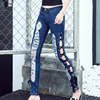New Korean Leisure Low Waist High Slit Splicing Drawstring Hole Pants Female Tide Cross Ripped Women