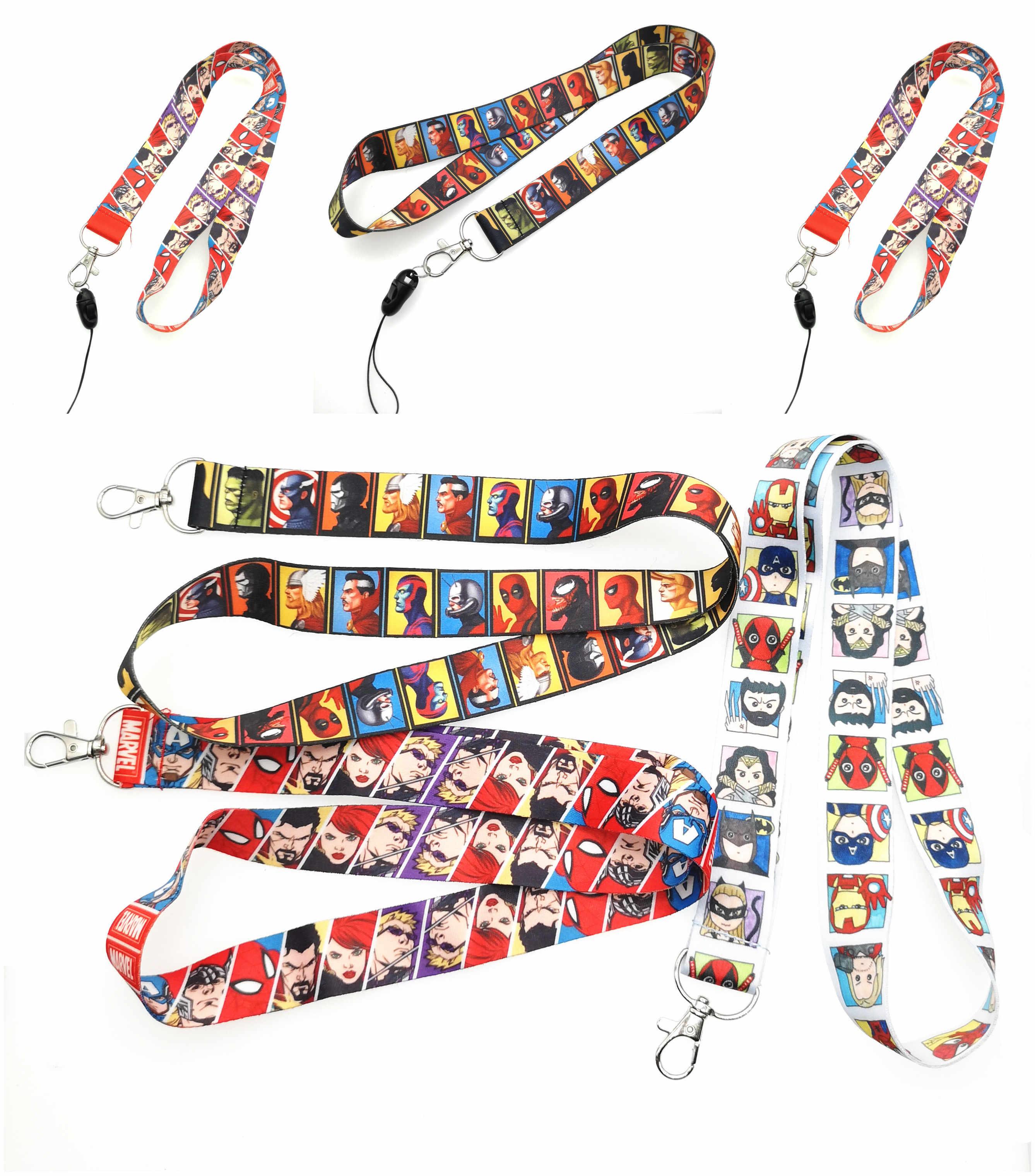 5 cái/10 cái/20 chiếc/bộ 50/100 viên bộ phim mới Avengers hoạt hình dây Cổ dây đeo Dây Điện Thoại Di Động Móc Khóa ID Huy Hiệu Móc Chìa Khóa