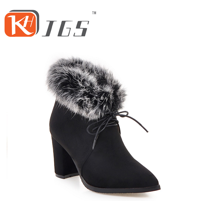 KHJGS 2017 winter high women boots plush warm lady shoe plus size 35 to 44 easy wear Lace-up girl white colour flower snow boots