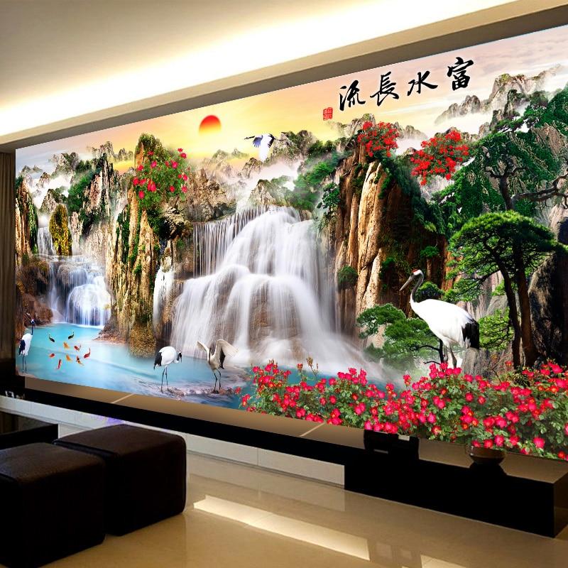 Ricamo, DMC punto Croce, kit completo di Ricamo set, tramonto montagna cascata Cinese modello stampato Punto croce per il regalo
