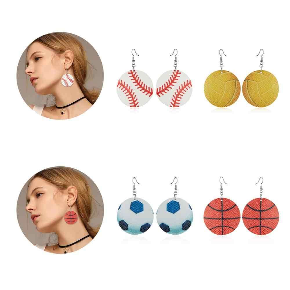 Belleper 2019 Unique Baseball Leather Earrings Women Sports Basketball Football Earring Teardrop Pierced Earring Fashion Jewelry
