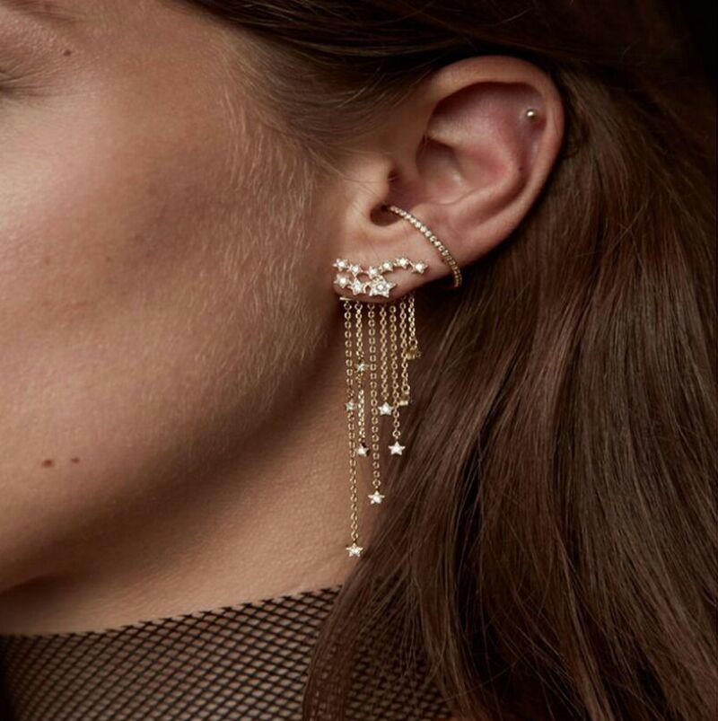Womens stylish back clip tassels drop earrings shining stars layers fashion jewelry earrings all-match elegant modern Earrings