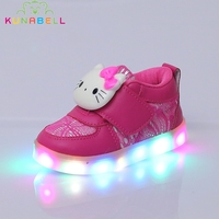 Children Hello Kitty Glowing Shoes 2017 New Girls Lighted Sneakers Kids Casual Flats Shoes With Led