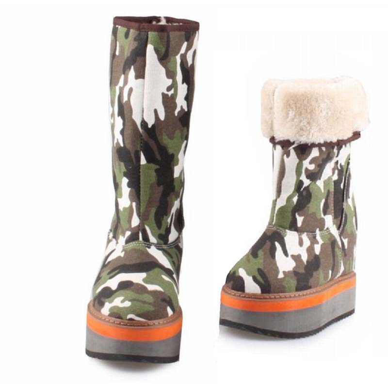 Women Denim Camouflage Winter Boots Keep Warm Mid-Calf Snow Boots 2017 Thick Sole Canvas Height Increasing Shoes Bota Feminina double buckle cross straps mid calf boots