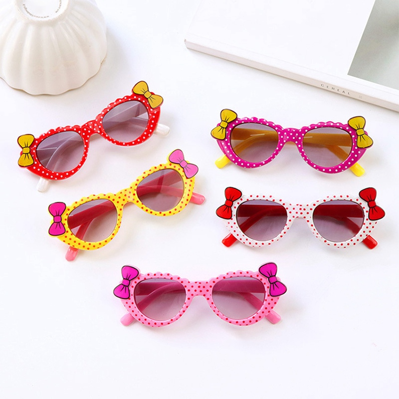 Hot 1Pc Girls Boys Sunglasses Toddler Eyewear Cartoon Bow Anti UV Eyeglasses Children Baby Kids