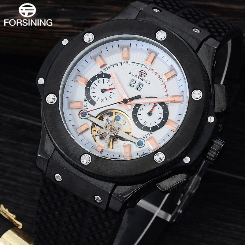 FORSINING Men Luxury Mechanical Watches Men's Sports Tourbillon Automatic Watch Rubber Strap Auto Date Week Month Calendar Clock forsining a165 men tourbillon automatic mechanical watch leather strap date week month year display