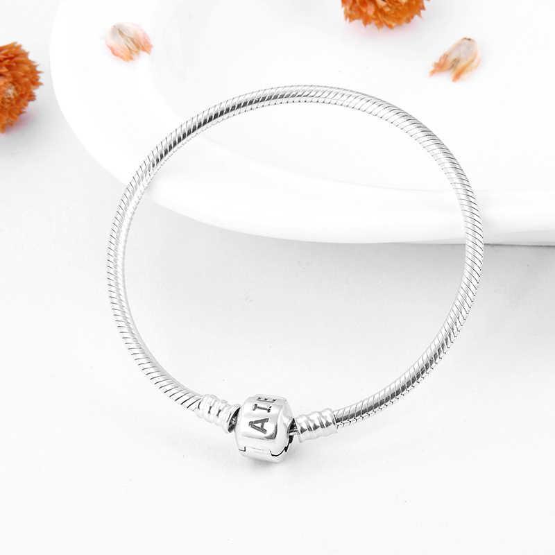 2018 Fashion Charm bransoletka 100% 925 srebrny łańcuszek żmijka bransoletki łańcuchowe damskie akcesoria trendy 2018 DIY biżuteria