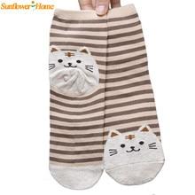 Recém projeto bonito dos desenhos animados cat meias padrão listrado de algodão mulheres inverno meia aug10 womail transporte da gota(China (Mainland))