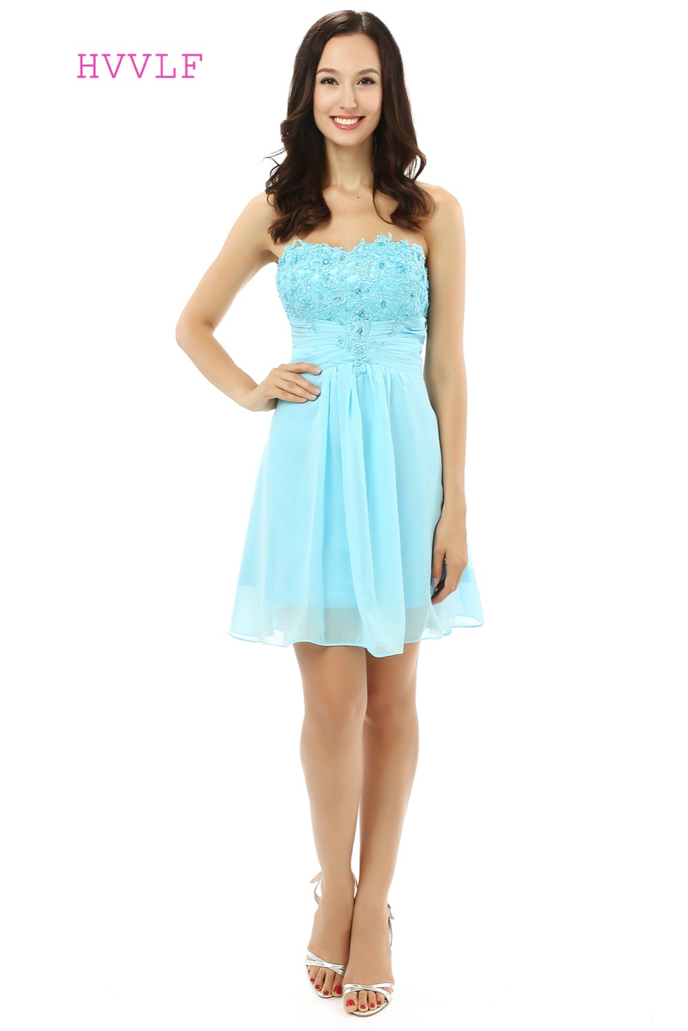 Mint Green Homecoming Dresses A-line Strapless Chiffon Lace Beaded Short Mini Sparkly Sweet 16 Cocktail Dresses 2019