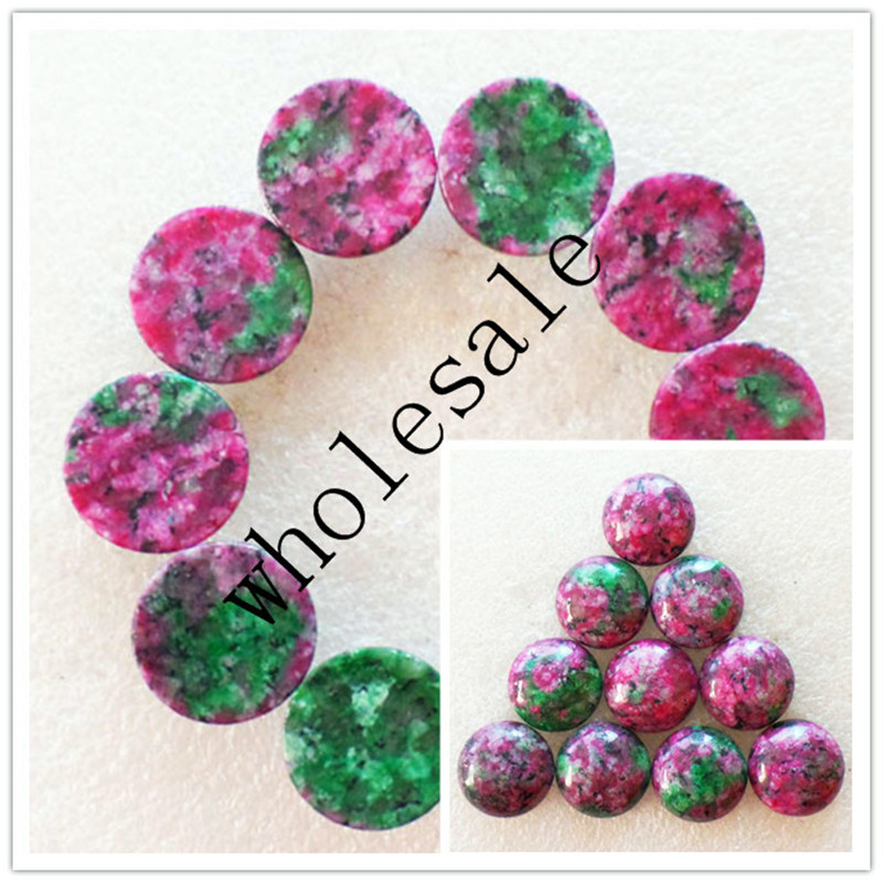 (12 pieces/lot) Wholesale High Quality Natural Fuchsite Round CAB Cabochon for jewelry Accessories 16x5mm Free Shipping