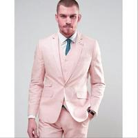 Latest Coat Pant Designs Hot Pink Linen Beach Wedding Men Suit Slim Fit 3 Piece Blazer Custom Groom Prom Tuxedo Terno Masculino