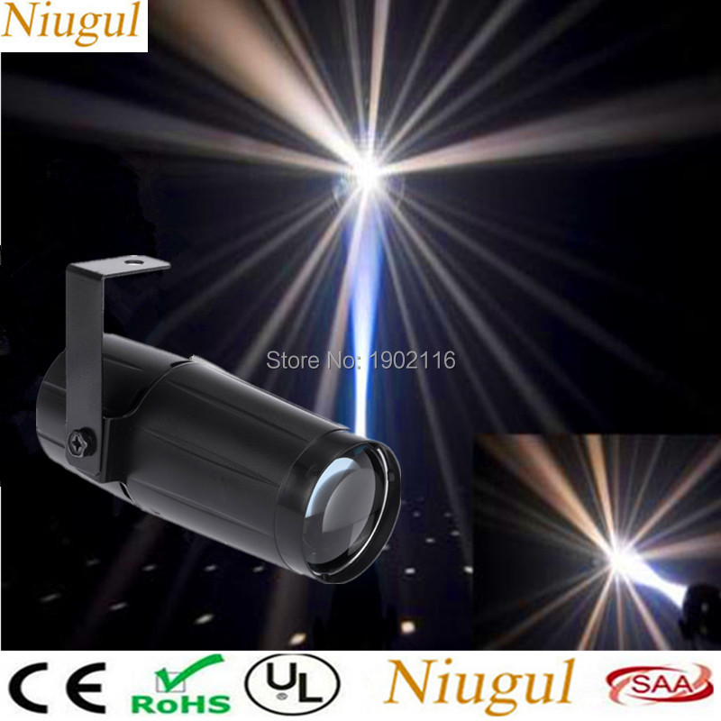 Niugul Total 5W LED White Beam Pinspot Light Spotlight Super Bright Lamp Mirror Balls DJ Disco Effect Stage Lighting for KTV Bar niugul dmx stage light mini 10w led spot moving head light led patterns lamp dj disco lighting 10w led gobo lights chandelier