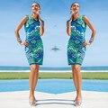 2016 nueva impresión caliente de las ventas del vestido sexy beach moda modelo de la impresión lápiz Bodycon ropa mujer
